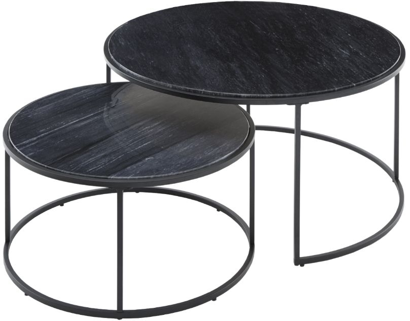 RV Astley Balthild Matt Black Nest of Tables