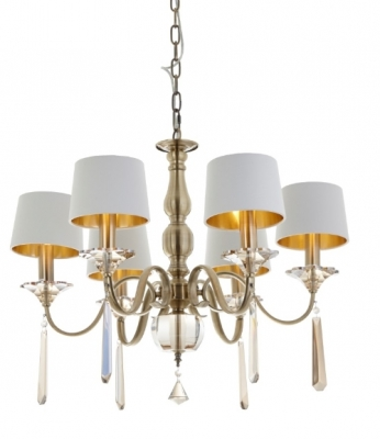 RV Astley Charon 6 Arm Brass Ceiling Lamp