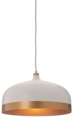 RV Astley Trakai White and Gold Pendant Lamp with Shade