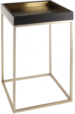 RV Astley Alyn Side Table - Black Oak and Champagne