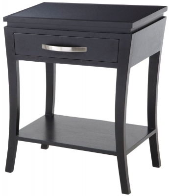 RV Astley Black Glass Top Side Table
