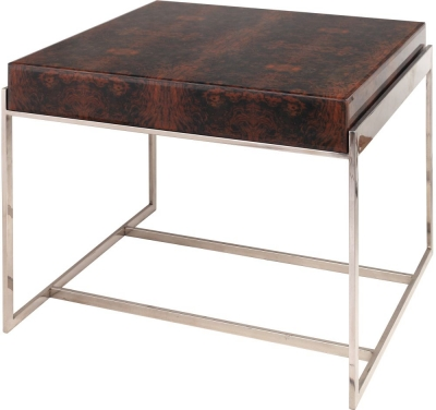 Rv astley burnett printed glass and ss frame side table - Rv side tables ...