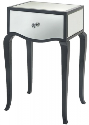 RV Astley Carn Gloss Black Mirrored Side Table