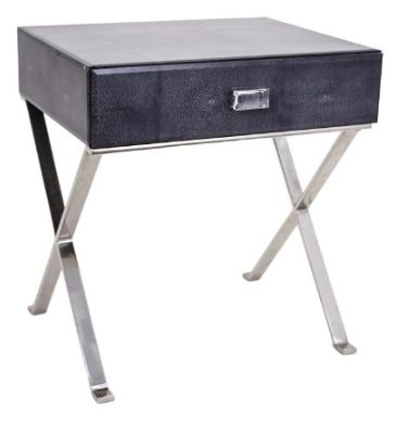 RV Astley Dark Grey Sienna Shagreen Side Table