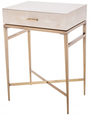 RV Astley Esta Biscuit Shagreen Side Table - 1 Drawer