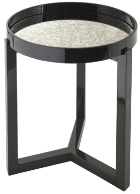 RV Astley Fyne Black Gloss Mirrored Round Side Table
