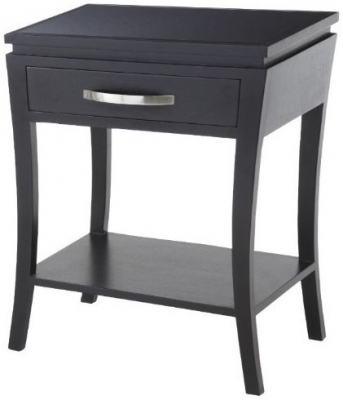 RV Astley Glass Top Black Side Table