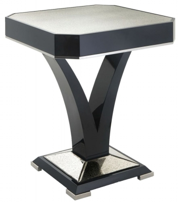 RV Astley Kildare Black High Gloss Side Table with Nickel Trim
