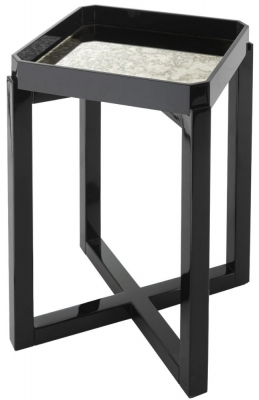 RV Astley Leith Black Gloss and Antique Mirrored Side Table