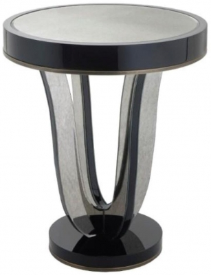 RV Astley Termon Gloss Black and Antique Mirrored Side Table