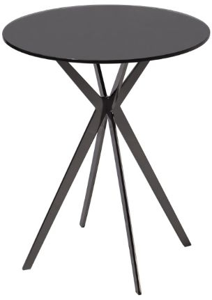 RV Astley Breen Side Table - Black Glass and Metal