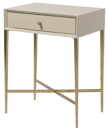 RV Astley Finley 1 Drawer Side Table - Ceramic Grey and Antique Brass