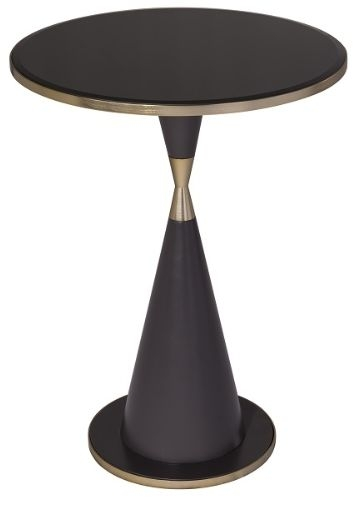 RV Astley Iona Side Table - Black Glass and Antique Brass