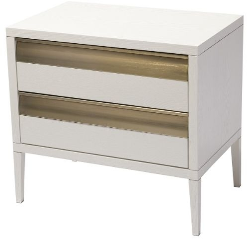 RV Astley Rhona 2 Drawer Bedside Table - White and Antique Brass