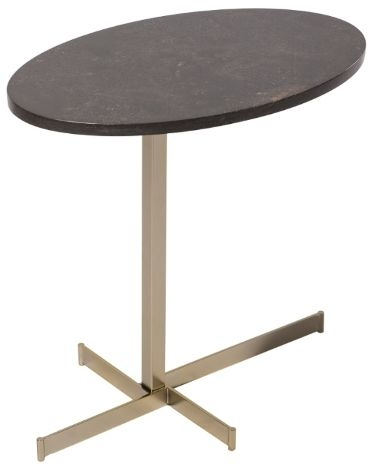 RV Astley Tier Side Table - Matt Champagne and Caviar Marble
