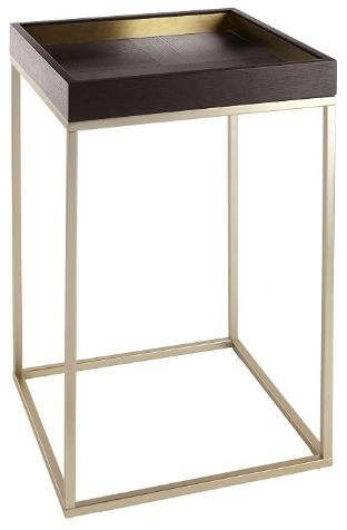 RV Astley Alyn Side Table - Satin Champagne and Chocolate