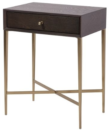 RV Astley Finley 1 Drawer Side Table - Chocolate and Antique Brass