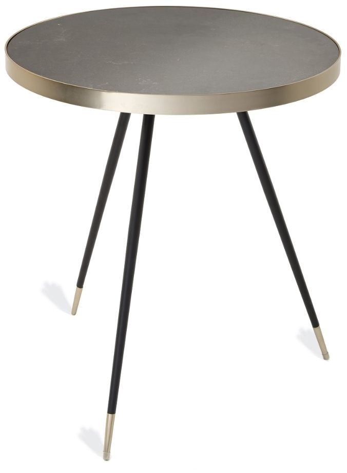 RV Astley Zeus Side Table - Caviar Marble and Antique Brass