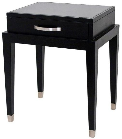 RV Astley Black Lamp Table - Glass Top 1 Drawer