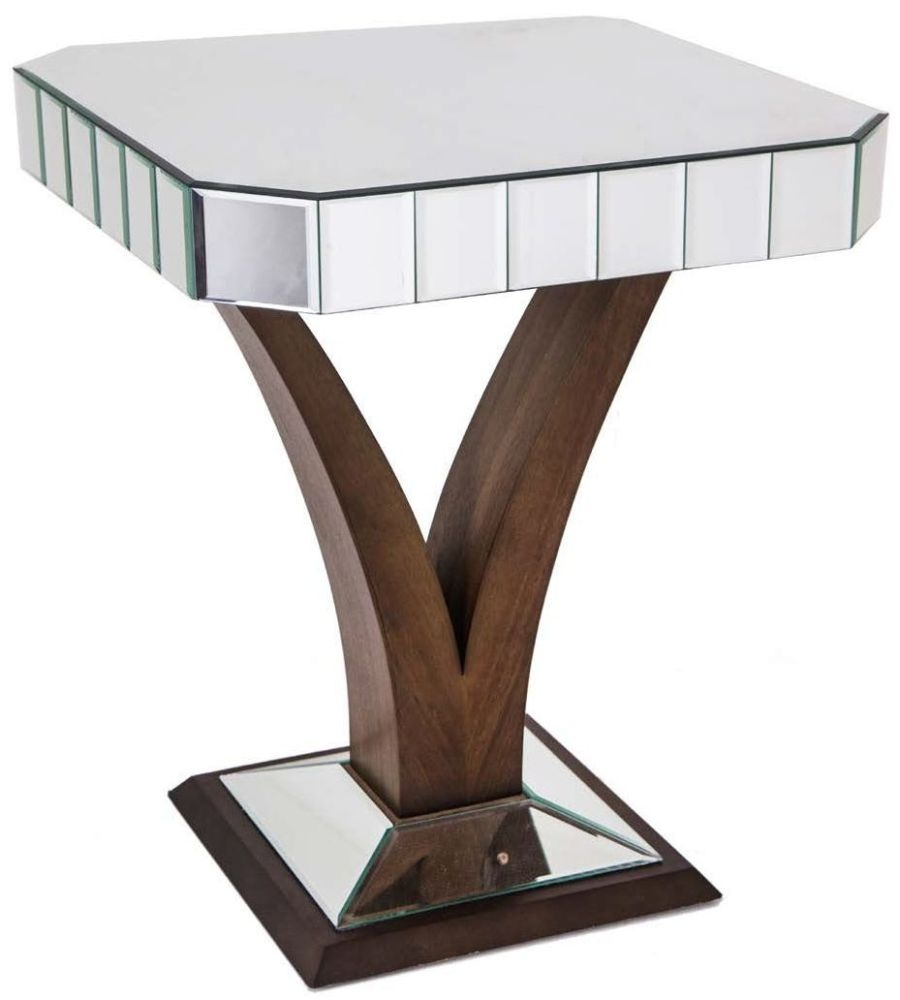 RV Astley Elmire Walnut Base Mirrored Side Table
