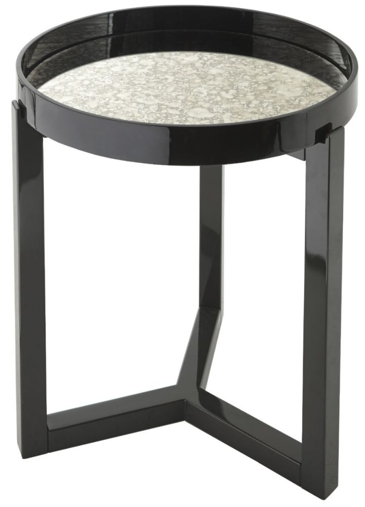 Buy rv astley fyne black gloss mirrored round side table online cfs uk - Rv side tables ...