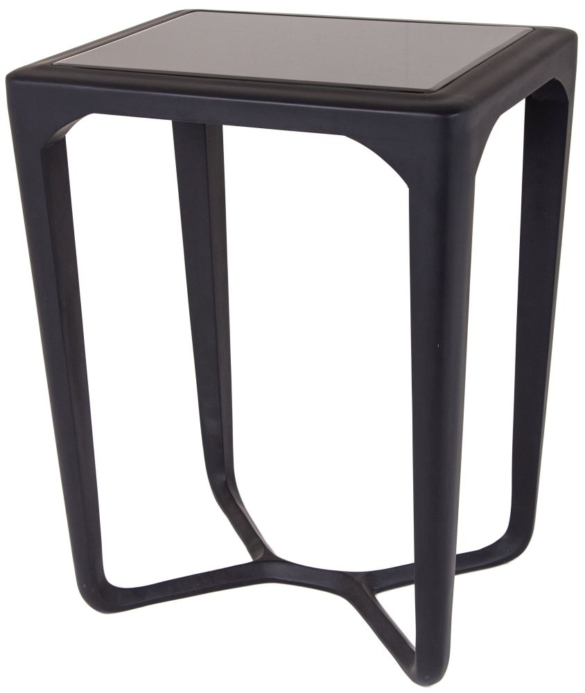 RV Astley Moneen Black with Glass Top Side Table