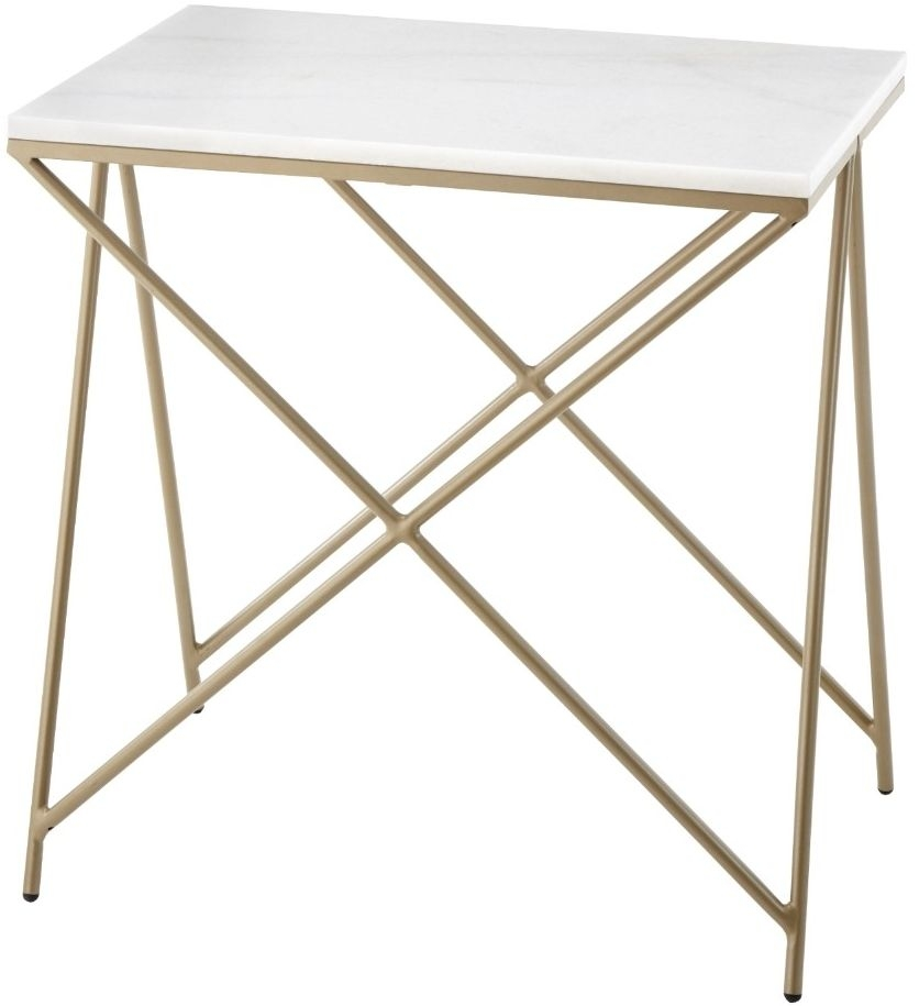 RV Astley Niall White Marble and Gold Metal Side Table