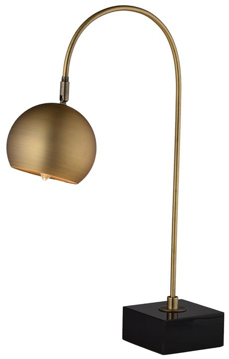 RV Astley Carno Antique Brass And Black Marble Table Lamp