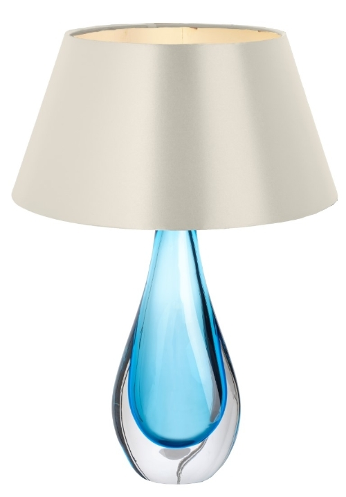 RV Astley Lorna Blue Crystal Table Lamp with Silver Shade
