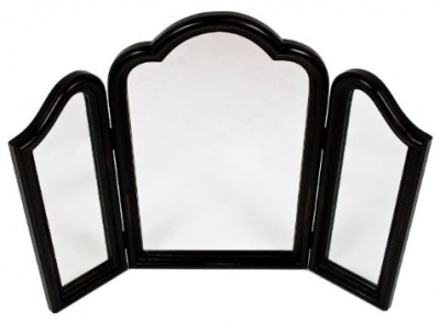 RV Astley French Black Painted Triple Mirror