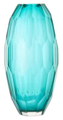RV Astley Aqua Faceted Glass Vase