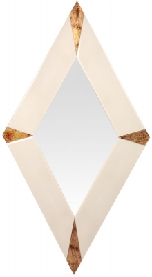 RV Astley Carno Mirrored and Gold Leaf Diamond Mirror - Large