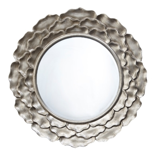 RV Astley Edlyn Distressed Silver Leaf Round Mirror