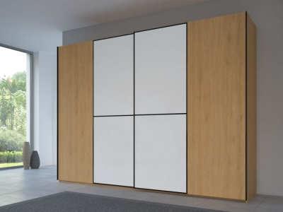 Rauch 20UP Partly Solid Sliding Wardrobe in Natural Oak Carcase with Matt White Front and Black Handle Strips