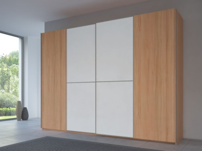 Rauch 20UP Partly Solid Sliding Wardrobe in Heart Beech Carcase with Matt White Front and Aluminium Handle Strip