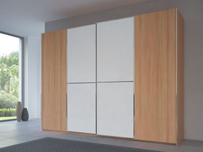Rauch 20UP Partly Solid Sliding Wardrobe in Heart Beech Carcase with Matt White Front and Chrome Handle Strip