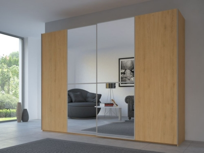 Rauch 20UP Partly Solid Sliding Wardrobe in Natural Oak Carcase with Mirror Front and Aluminium Handle Strip