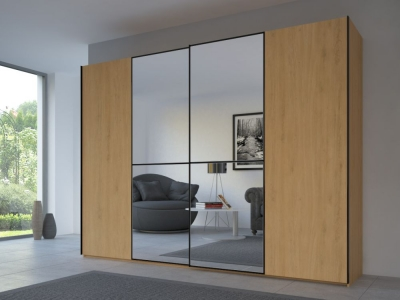 Rauch 20UP Partly Solid Sliding Wardrobe in Natural Oak Carcase with Mirror Front and Black Handle Strip