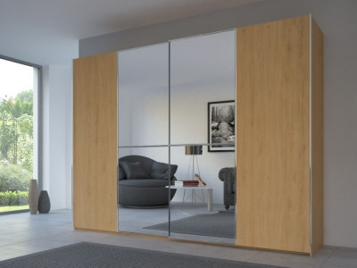 Rauch 20UP Partly Solid Sliding Wardrobe in Natural Oak Carcase with Mirror Front and Chrome Handle Strip
