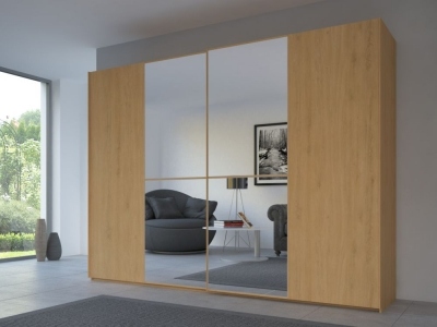 Rauch 20UP Partly Solid Sliding Wardrobe in Natural Oak Carcase with Mirror Front and Natural Oak Handle Strip