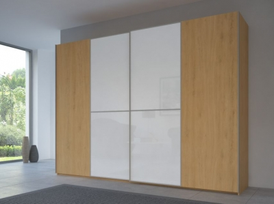 Rauch 20UP Partly Solid Sliding Wardrobe in Natural Oak Carcase with Color Mirror Front and Aluminium Handle Strip