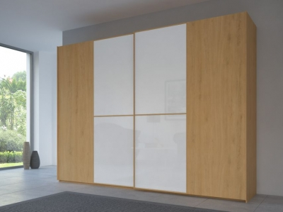 Rauch 20UP Partly Solid Sliding Wardrobe in Natural Oak Carcase with Color Mirror Front and Natural Oak Handle Strip