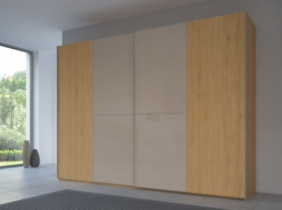 Rauch 20UP Partly Solid Sliding Wardrobe in Natural Oak Carcase with Glossy Color Glass Front and Aluminium Handle Strip