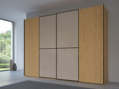 Rauch 20UP Partly Solid Sliding Wardrobe in Natural Oak Carcase with Glossy Color Glass Front and Black Handle Strip