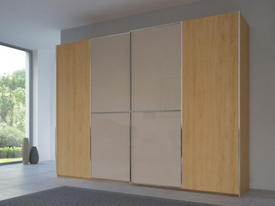 Rauch 20UP Partly Solid Sliding Wardrobe in Natural Oak Carcase with Glossy Color Glass Front and Chrome Handle Strip