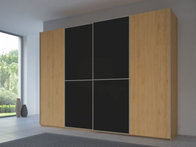 Rauch 20UP Partly Solid Sliding Wardrobe in Natural Oak Carcase with Matt Color Glass Front and Aluminium Handle Strip