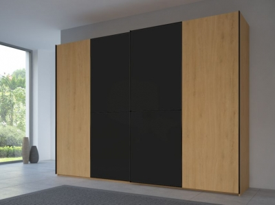 Rauch 20UP Partly Solid Sliding Wardrobe in Natural Oak Carcase with Matt Color Glass Front and Black Handle Strip