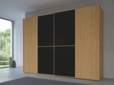 Rauch 20UP Partly Solid Sliding Wardrobe in Natural Oak Carcase with Matt Color Glass Front and Natural Oak Handle Strip