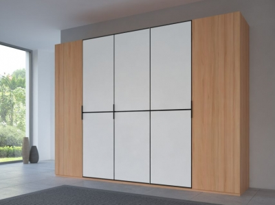 Rauch 20UP Partly Solid Wardrobe in Heart Beech Carcase with Matt White Front and Black Handle Strip