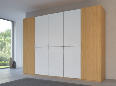 Rauch 20UP Partly Solid Wardrobe in Natural Oak Carcase with Matt White Front and Chrome Handle Strip